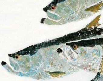 Schooling Tarpon - Gyotaku Fish Rubbing - Limited Edition Print (33 x 17.5)