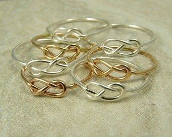 Four Infinity Rings Tie the Knot Bridesmaids Gift Gold Ring Silver Ring