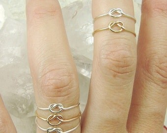 Love Knot Rings / Six Love Knot Rings / Infinity Knot Ring / Bridesmaids Gift / Wedding Sale