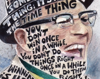 Vince Lombardi Winning is Habit Quote Watercolor Art Print by James Steeno