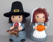 Thanksgiving Pilgrim Couple Flowerpot Bell Decorations