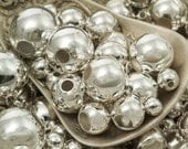50 Silver Plated Smooth Round Beads - You Pick Size 2.5mm, 3mm, 4mm, 5mm, 6mm, 7mm, 8mm, 9mm, 10mm or Mix