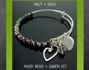 Bangle Bracelet Kit - Mood Beads and Charms - You Can Make This Snag-Less Design