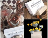 Robot Business Card Holder (Made to Order) Customizable   Clay, Wire, Paint