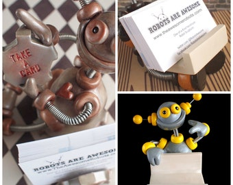 Robot Business Card Holder (Made to Order) Customizable | Clay, Wire, Paint