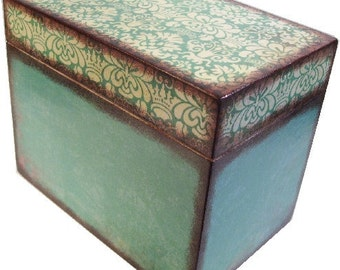 Recipe Box Decoupaged Teal Damask Box Wedding Large, Handcrafted  Kitchen Storage, Organization Holds 5x7 Recipe Cards MADE TO ORDER