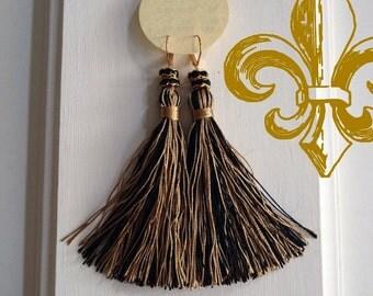 Long Tassel Rhinestone Earrings  - Black & Gold Threads - Game Day Accessories PomPoms Women Gear Shoulder Dusters - New Orleans Handmade