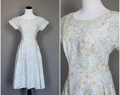 Vintage Summer Dress Pastel Floral 1980s does 1950s Princess Seam Drop Waist Cotton Ramie Medium