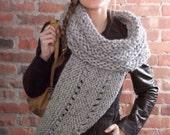 Cross Body  Cowl Wrap  Shawl - Hand Knit