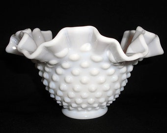 Vintage Fenton Milk Glass  White Hobnail  Ruffle Edge Footed  Bowl Wedding Party Centerpiece
