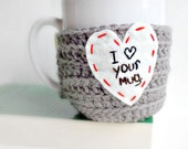 Coffee Mug Cozy tea cup love heart red white gray crochet cover Valentines Day