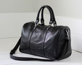 Black leather duffle bag - black leather carry all, small leather duffle bag