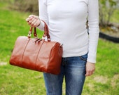 Brown leather duffle bag - leather carry on bag- brown leather carry all
