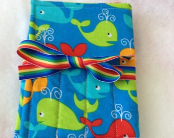 Handmade Crayon Travel Case Holder girls/boys, holds crayons and paper, blue, whales, letters, alphabet