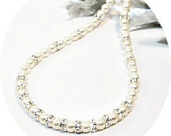 Girls Pearls, Pearl Necklace, Kids Jewelry, Flower Girl Jewelry, Glitz, Pearls and Rhinestones, Dressy Jewelry, Pageant Jewelry, Pearls