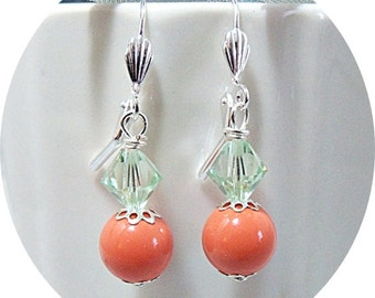 Earrings, Coral and Mint, Coral and Green, Bridesmaid Earrings, Bridal Accessories, Coral Earrings, Orange Earrings, Wedding, Summer Wedding