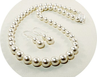 Bridal Pearls, Pearl Jewelry, Necklace and Earrings, Bridal Accessories, Wedding Jewelry, Bride Jewelry, Bridesmaid Jewelry, Pearl Strand