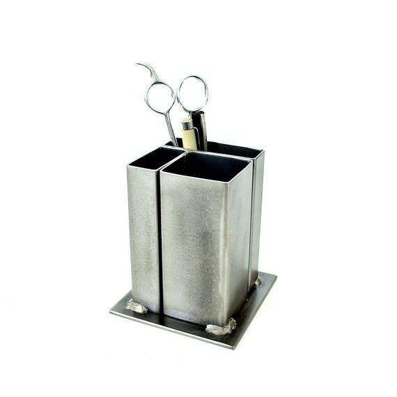 Small modern desk organizer pencil holder Small steel desk