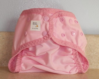 Medium PUL Diaper Cover with Leg Gussets- 10 to 20 pounds- Baby Pink- 22011