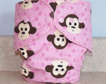 Fitted Small Cloth Diaper- 6 to 12 pounds- Pink Monkeys- 17015