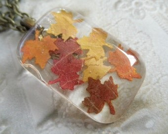 Tiny Maple Leaves Cut From Real Maple Leaves-Glass Rectangle Pendant-Gifts Under 30-Rustic,Woodsy-Nature's Art-Symbol for Canada