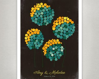 Rustic Wedding Signature Guest Book Alternative Print - Modern Unique Flower Guestbook poster - WILD DANDELION FLOWERS