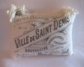 French Graphic Pillow, Hanging Pillow,French Country, Romantic, Cottage Chic, Ribbon