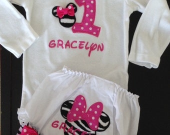 Custom Boutique Monogrammed Minnie Mouse 1st Birthday  Personalized Onesie and bloomers Set for baby girl