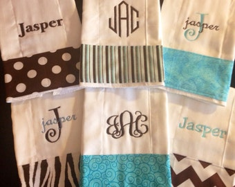 Boy gift! Personalized Monogrammed Baby Burp Cloth Set of 6 Cloths for newborn thru toddler.  Baby shower gift personalized