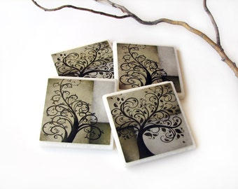 Whimsical Brown Tree Tile Coasters Set of 4, Earth Tones Natural Home Decor