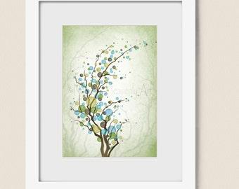 Blowing Tree Wall Decor 5 x 7 Art Print, Green Blue Polka Dot (81)
