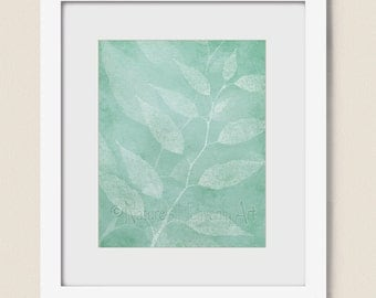 8 x 10 Teal Green Leaf Wall Art for Home or Office, Bedroom or Living Room Decor, Nature Wall Art  (283)
