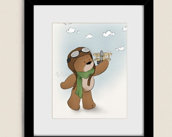 11 x 14 Boys Nursery Wall Art, Teddy Bear Childrens Print, Flying Plane Childs Room Decor, Babys Nursery Art (128)