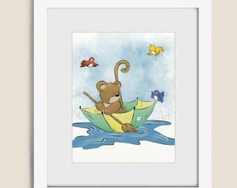 11 x 14 Teddy Bear Nursery Wall Art, Cute Childrens Art Print, Boys Room Decor, Artwork for Nursery Room Art (209)