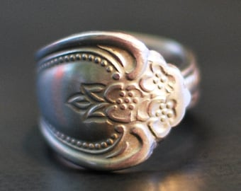 Spoon Ring, Victorian Style, Stainless Steel, Any Size, Fork Ring, Silverware Jewelry, Silverware Ring, Floral Pattern, Spoon Rings