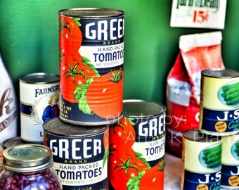 "5""x7"" Retro Grocery Canned Foods Window Display photo"