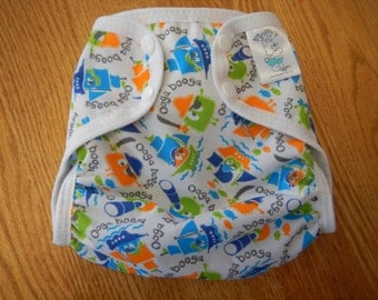 Pirate Ooga Polyester PUL Cloth Diaper Cover With Aplix Hook & Loop Or Snaps You Pick Size XS/Newborn, Small, Medium, Large, or One Size