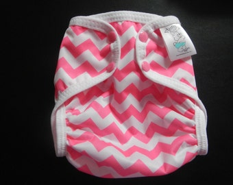 Pink Chevron Polyester PUL Cloth Diaper Cover With Aplix Hook & Loop Or Snaps You Pick Size XS/Newborn, Small, Medium, Large, or One Size