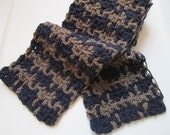 Navy Blue and Taupe Brown Plaid Houndstooth Scarf - Unisex