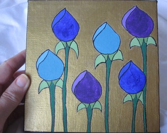 Original Small Flower Painting with Gold Background Purple Blue Turquoise