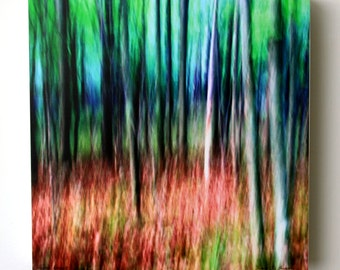 Abstract Forest Trees, Photography, Green, Modern Wall Decor, Nature,10X10 Wood Panel, Square Wall Art, Ready to Hang, Wall Hanging