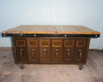 Industrial Coffee Table File Drawers Storage Organizer Wood Top Rolling Casters Steel Repurposed