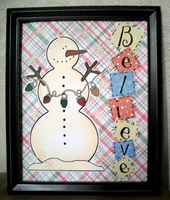 Primitive Christmas Wall Decor : Items similar to christmas believe snowman sign primitive