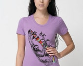 Sloth by Chill Clothing on American Apparel Tri Orchid T