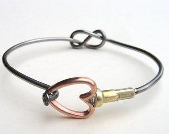 Bicycle Spoke Bracelet Bike Bangle Infinity Knot and Copper Heart Bangle Bracelet Valentine