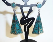 Vintage Taxco Sterling Silver and Turquoise Dangle Triangle Earrings on Etsy