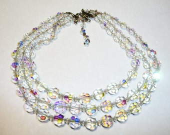 Vintage Triple Strand AB Cut Crystal Necklace on Etsy
