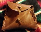 "Handmade Brown Leather Bag to carry ""Poop"" Bag Roll of 20, 29ml Pocket Bac Hand Sanitizer from Bath & Body Works"