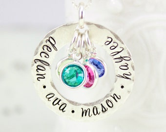 Name Birthstone Necklace Personalized Mommy Necklace with Birthstones, Sterling Silver