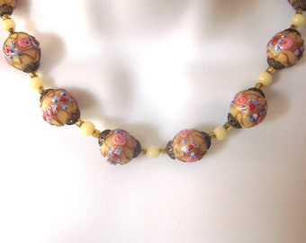 Wedding Cake Vintage Beaded Necklace Murano Glass Jewelry